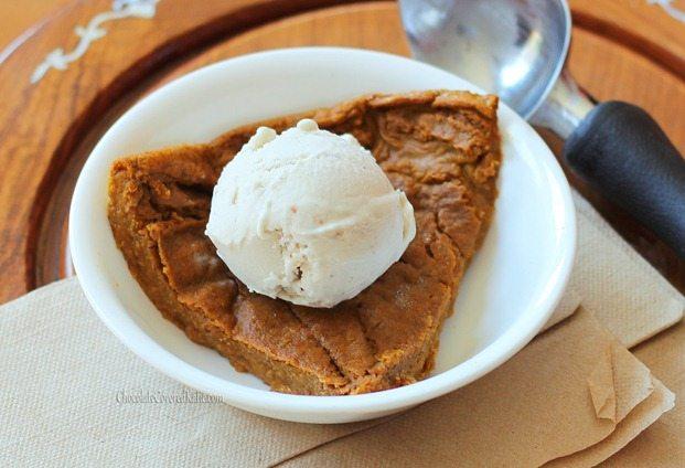 crustless pumpkin pie on a plate