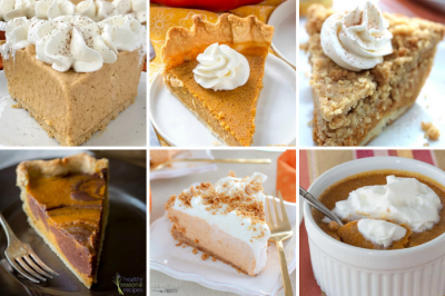 collage of pumpkin pies