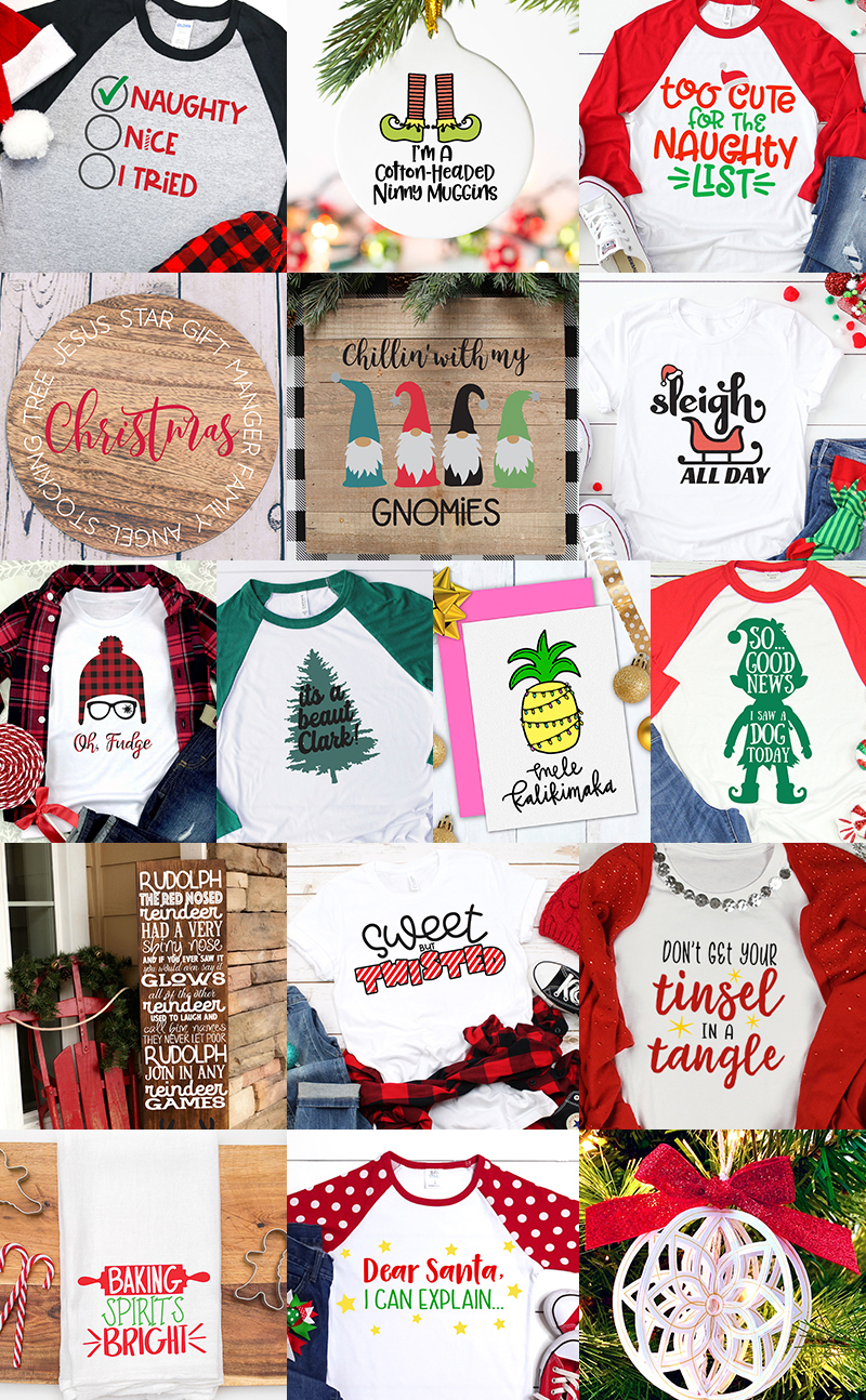 collage of Christmas SVG designs
