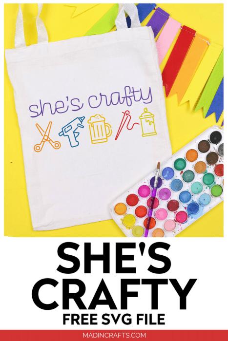 she's crafty tote bag