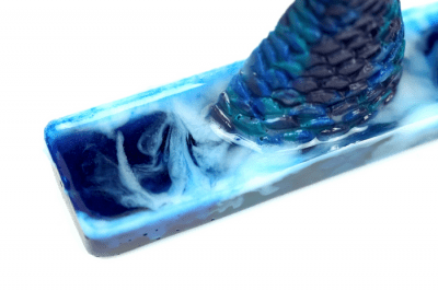 Blue and white swirled resin