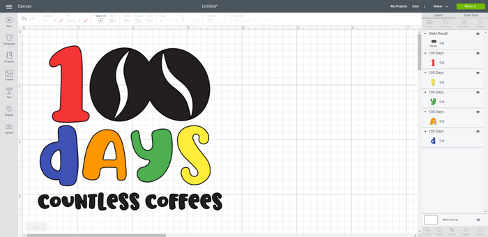 100 Days Countless Coffees SVG design in Design space