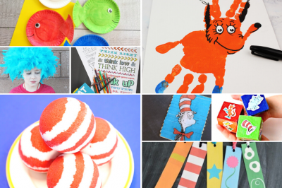 collage of Dr Seuss crafts