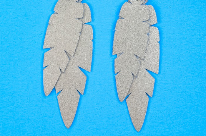 DIY leather feather earrings