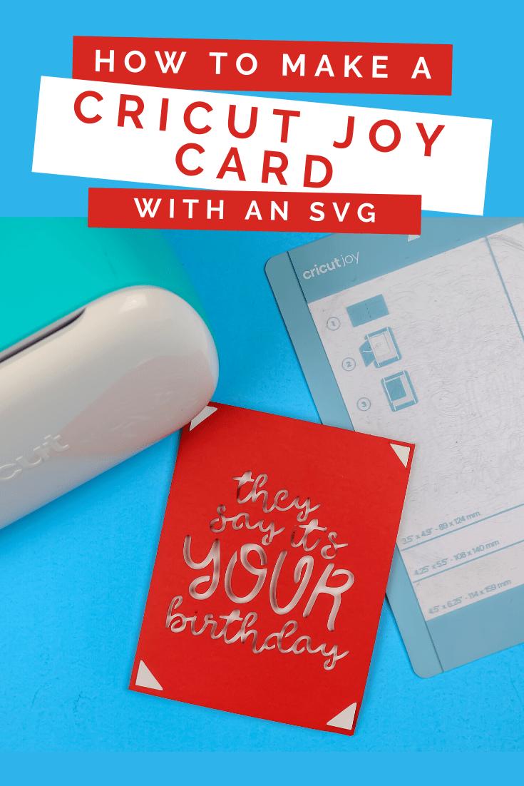Free SVG for making a Cricut Insert card, birthday card, Cricut Joy on a blue background