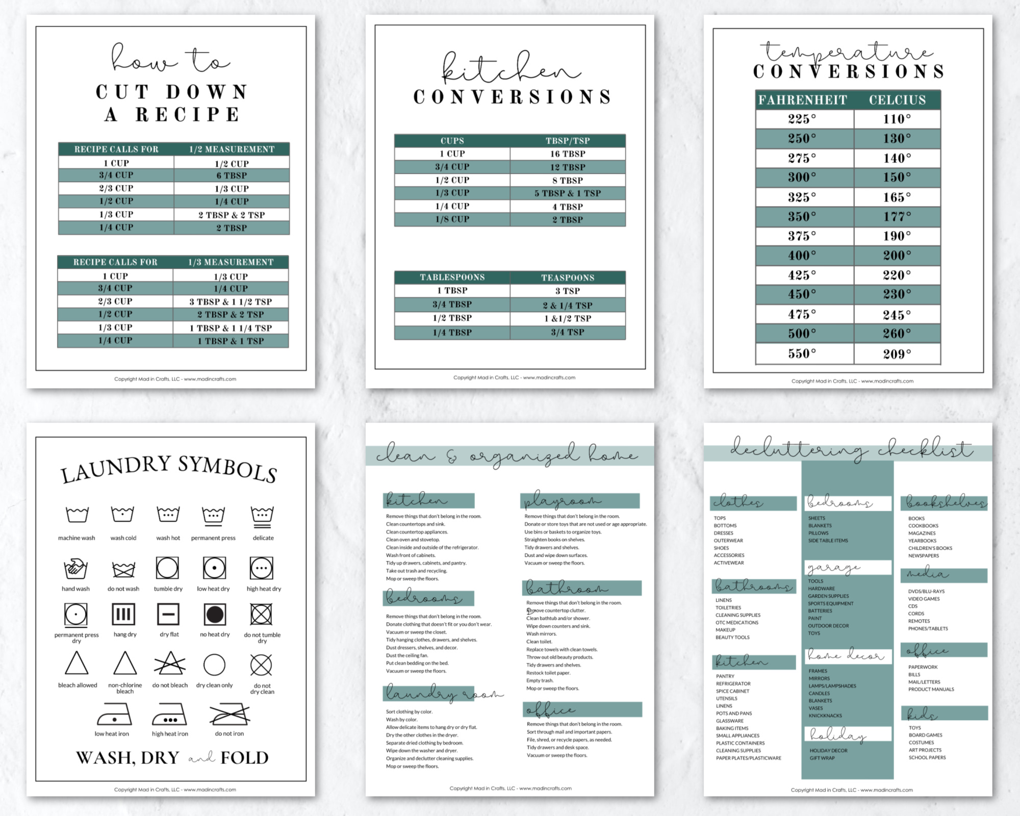 collage of home organization printables