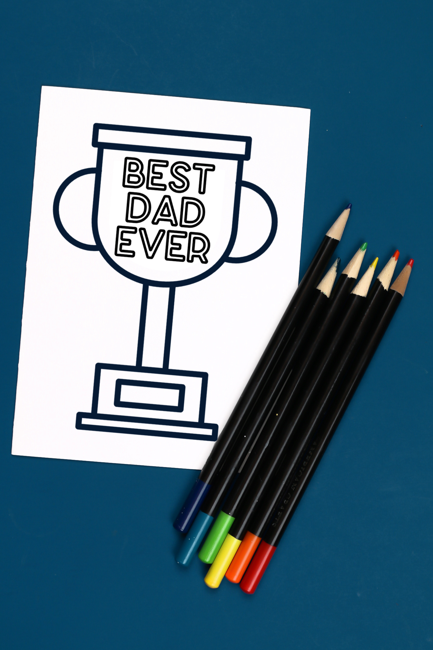 Coloring Page Card that says Best Dad Ever