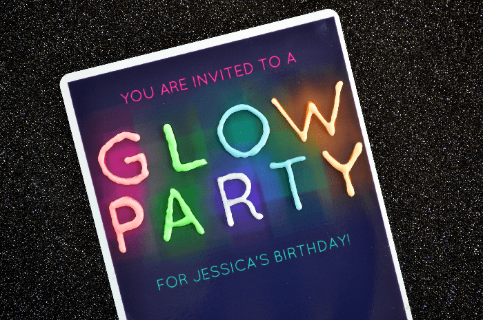 Printable glow party invitation on a black background