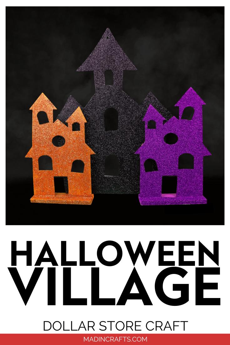 orange, purple, and black glittery Halloween house on a black background