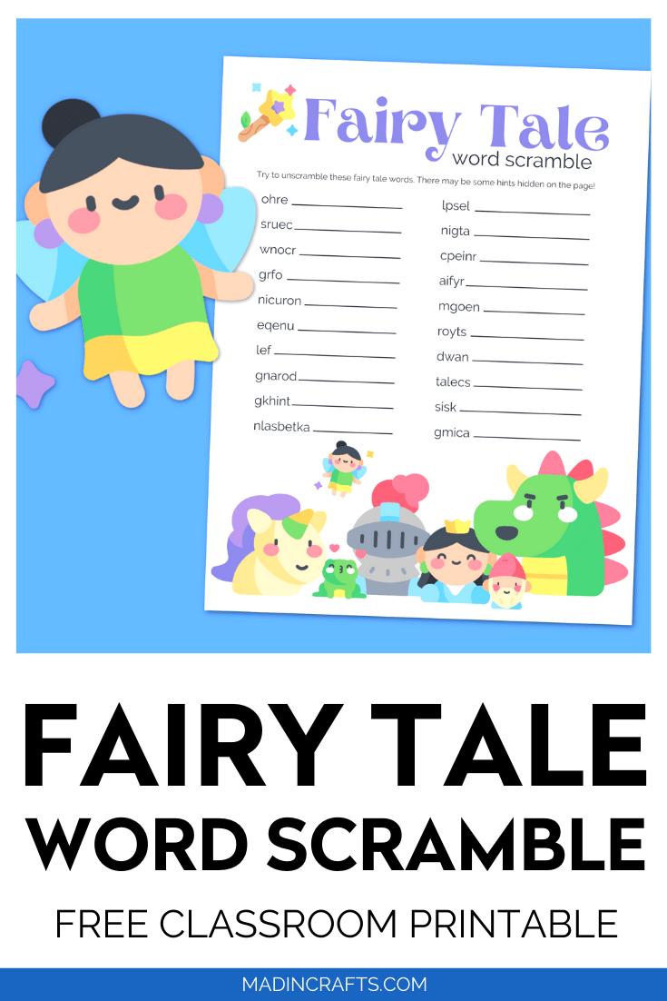 Fairy Tale word scramble printable on a blue background with cartoon fairy