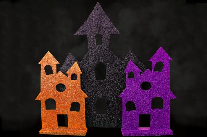 black, orange, and purple halloween house craft