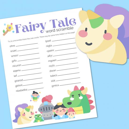 Fairy Tale word scramble printable on a blue background with cartoon unicorn