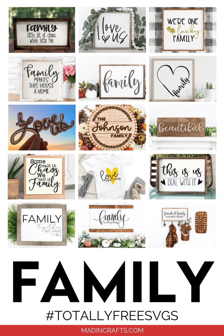 collage of family SVG designs