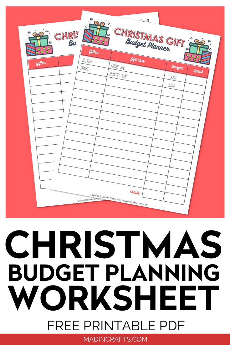 Christmas budget printables on a red background