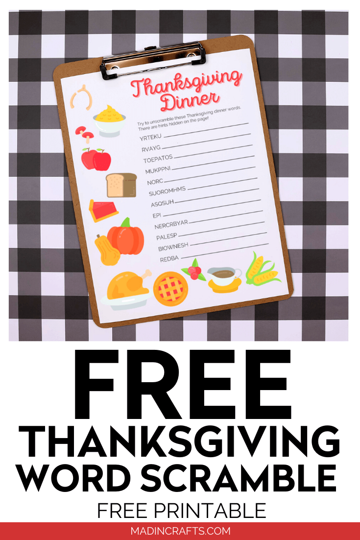 Thanksgiving word scramble printable on clipboard with a plaid background