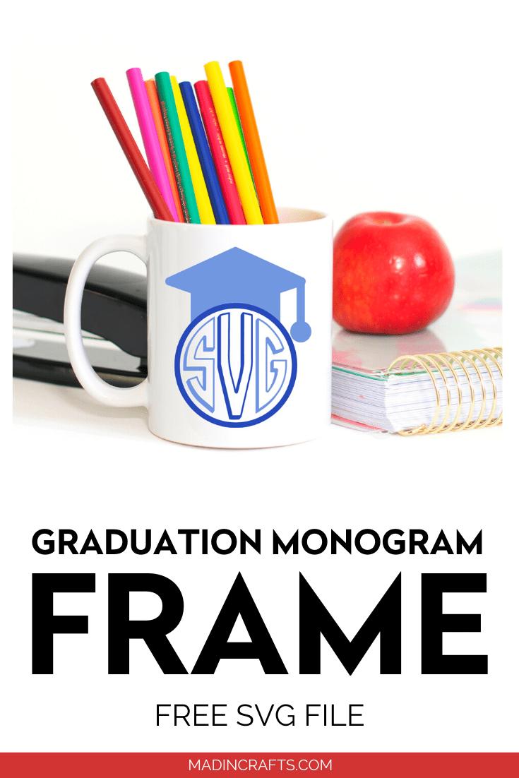 Blue Graduation Monogram on a white mug that holds colored pencils
