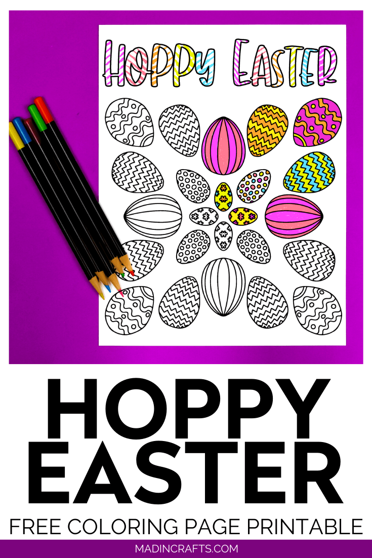 Hoppy Easter coloring page on a purple background