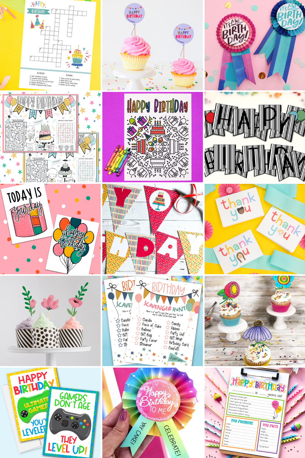 collage of birthday party printables