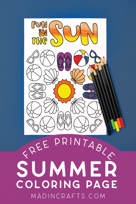 summer coloring page with colored pencils on a blue background