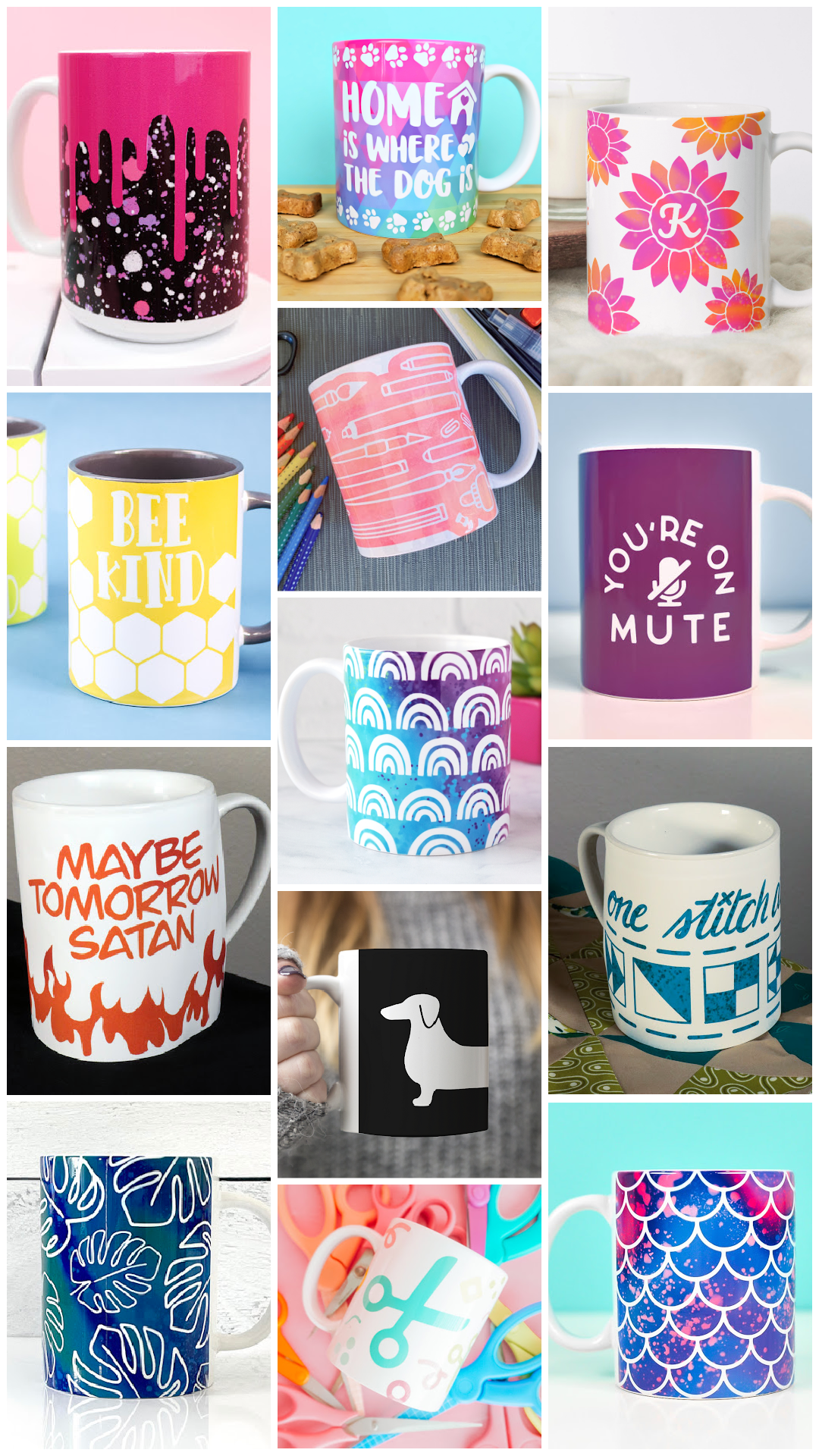 collage of sublimated mugs