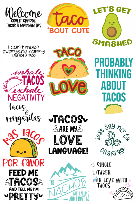 collage of free taco svg designs