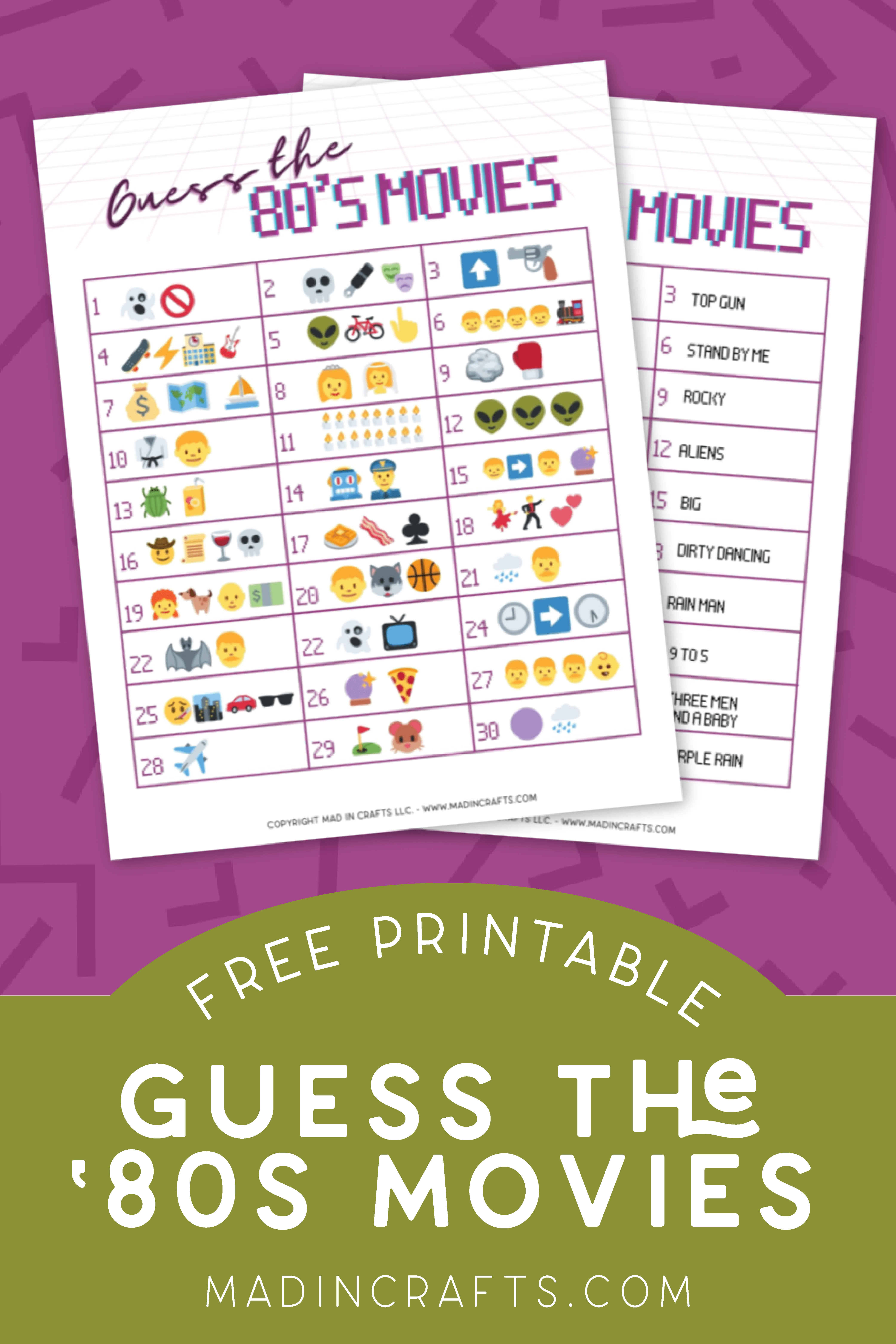 Printable 80s Movies Game on a purple background