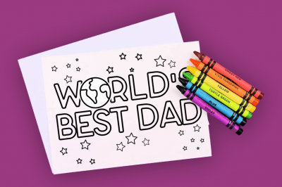World's Best Dad Card to Color
