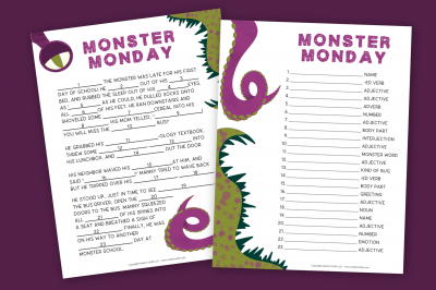 printable monster mad libs on a purple background