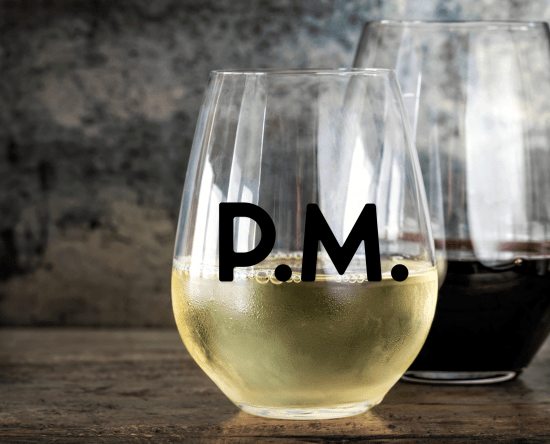 stemless wine glass holding white wine with PM SVG file