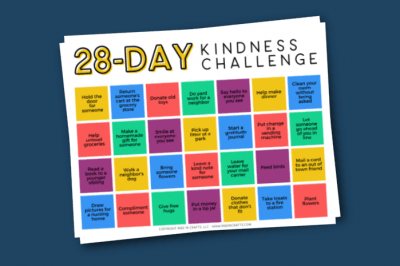printable kindness calendar on a blue background
