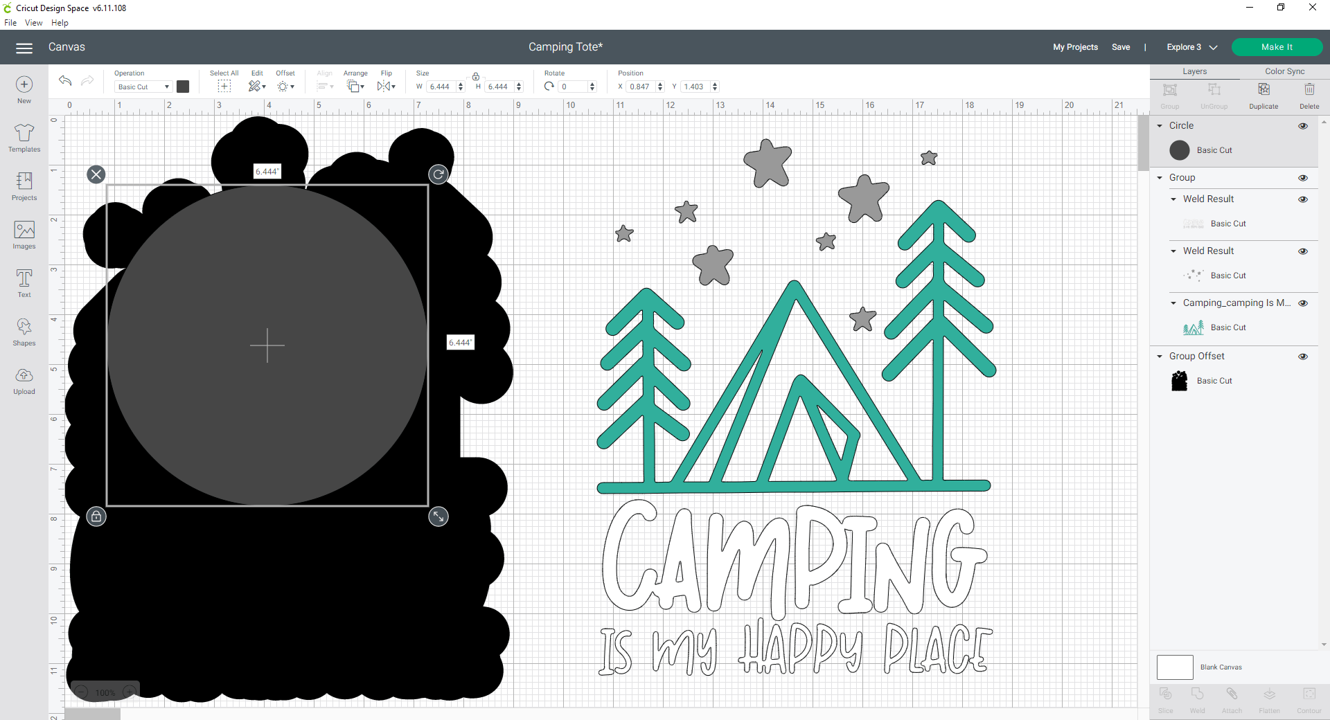 Cricut Design Space fill in offset gaps with a shape