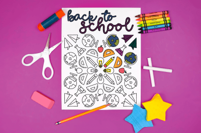 back to school coloring page surrounded by school supplies