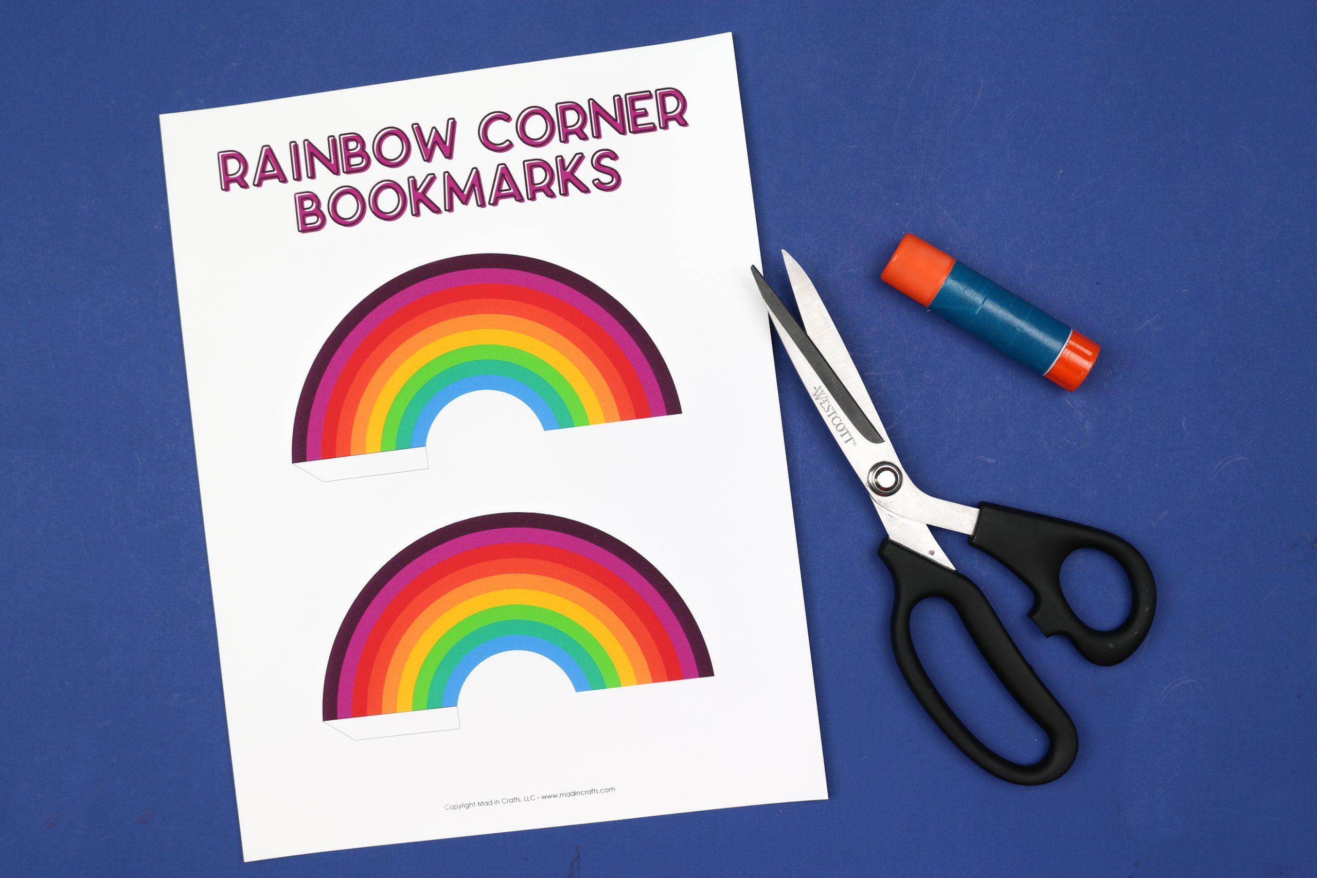 corner bookmarks, scissors, and a glue stick