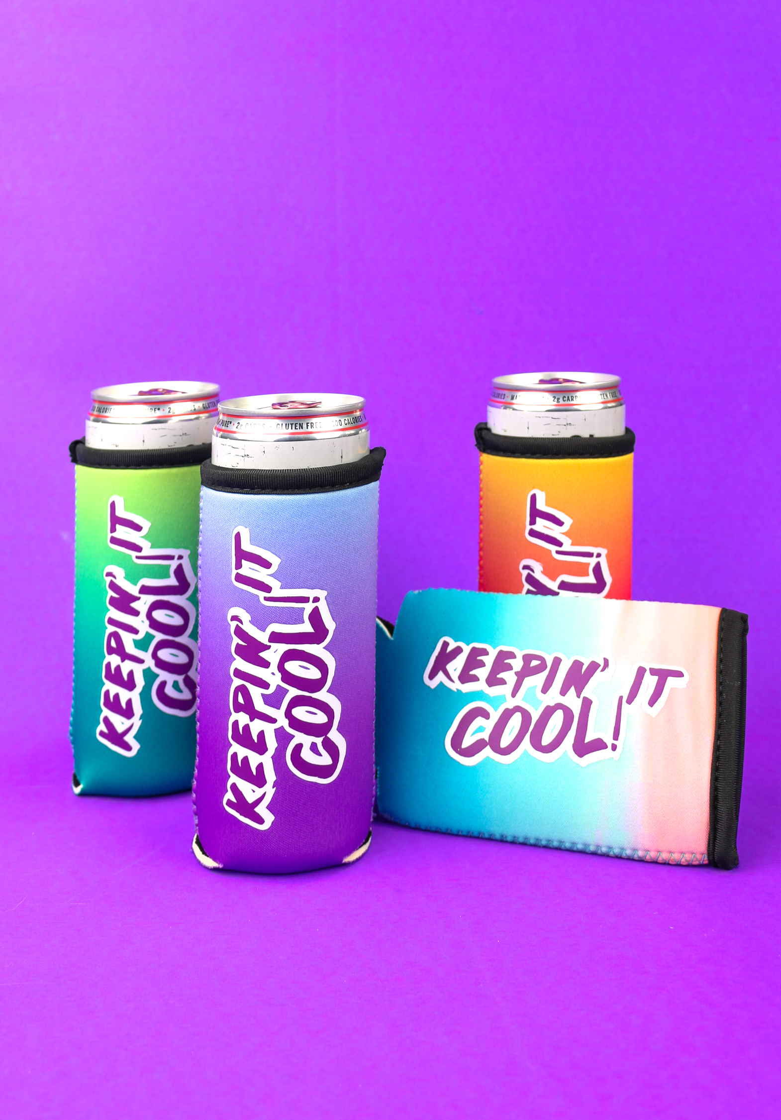 Cans of White Claw in personalized can koozies