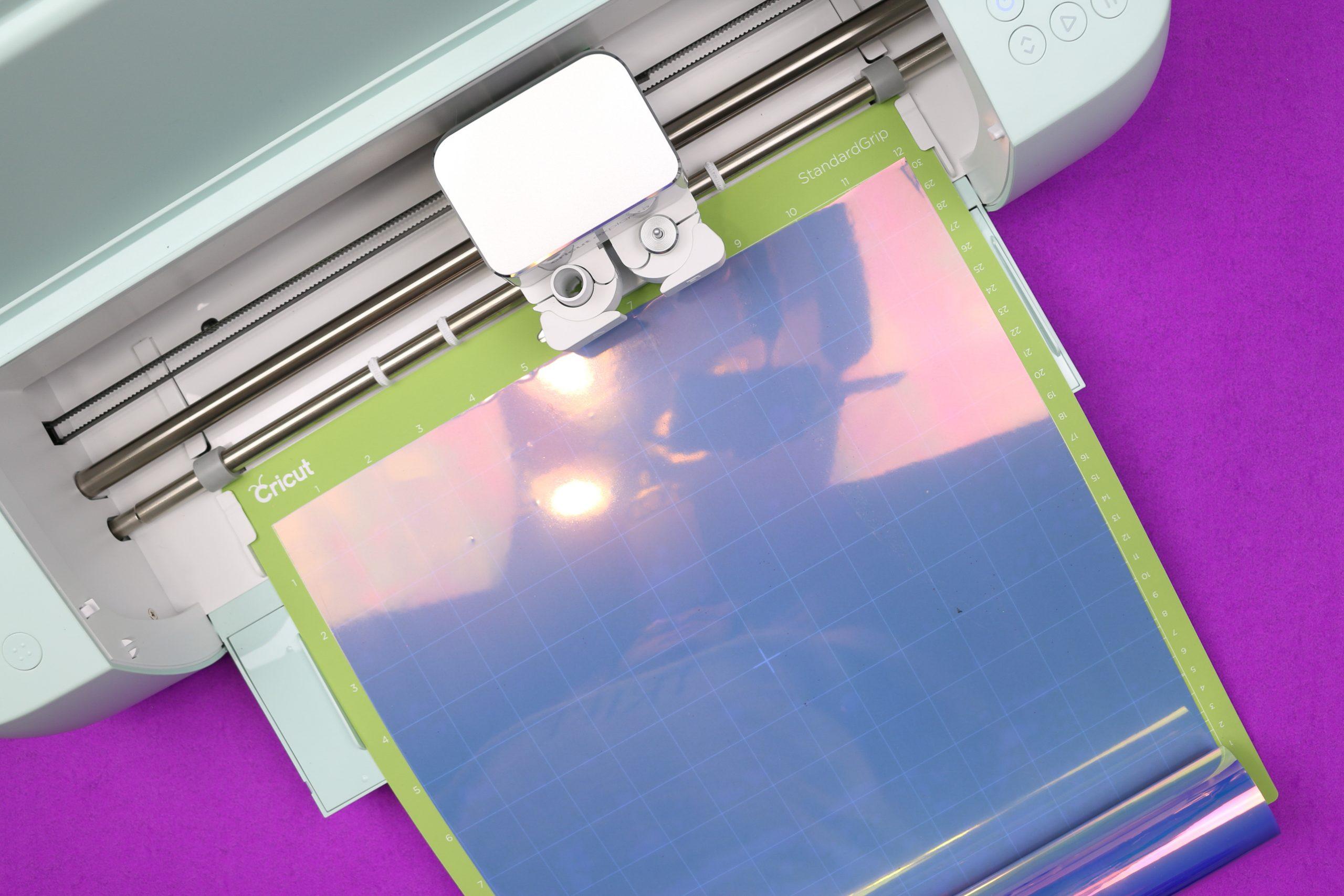 holographic iron on vinyl in a Cricut Explore 3