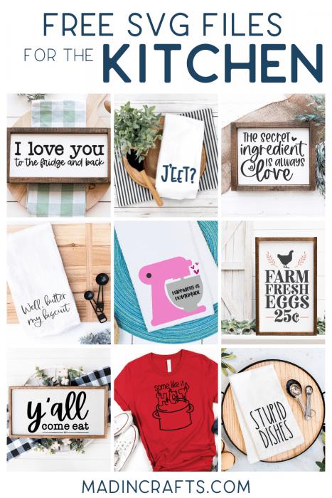 collage of kitchen svg designs
