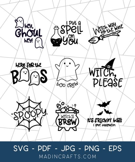 collage of halloween svg designs