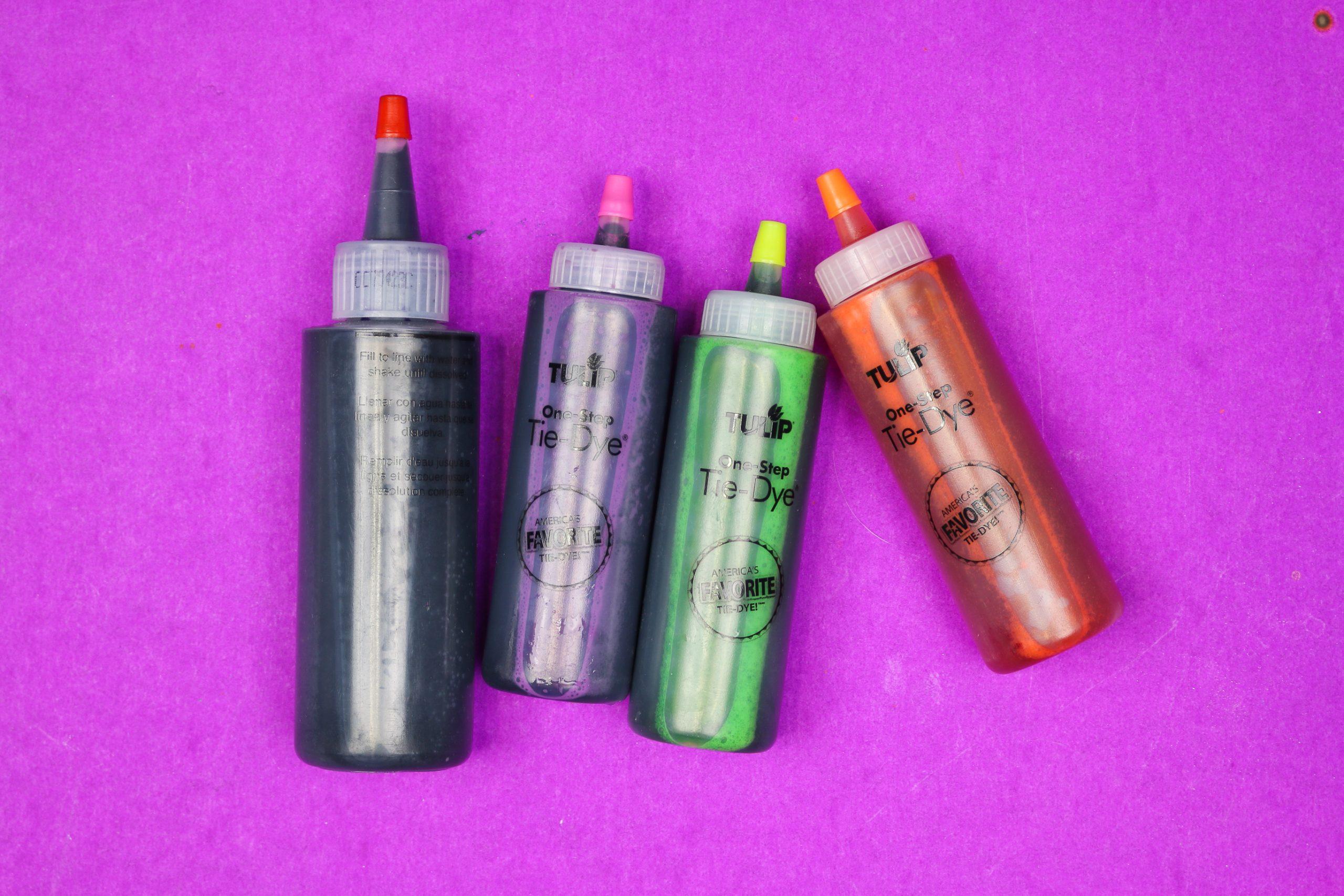 four bottles of tulip tie dye