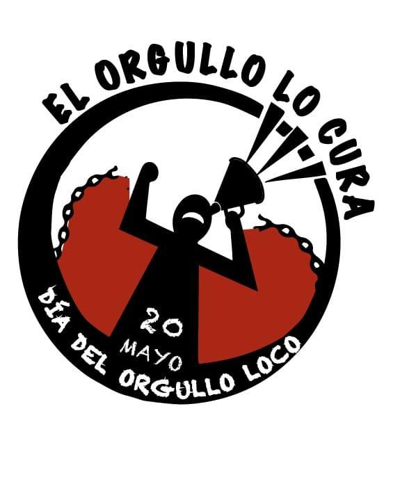 Logo del Día del Orgullo Loco, 20 de mayo: dentro de un círculo una persona rompe sus cadenas mientras alza la voz con un megáfono