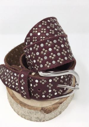 Clover Studded Belt - Bordeaux - ShopMadisonbelle