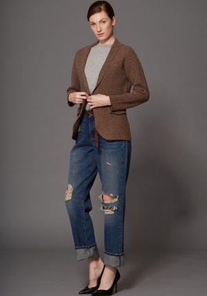 Brown Chevron Wool Blazer - ShopMadisonbelle
