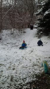 """""""Nature's Nursery"""" students enjoy sledding after an early snowfall. Winter sessions begin on Jan. 6 at Rogers Environmental Education Center in Sherburne. Photo courtesy Friends of Rogers"""