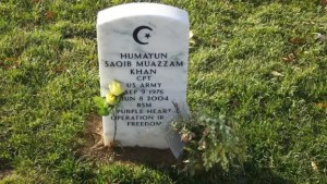 Khan is buried at Arlington Cemetery in Virginia