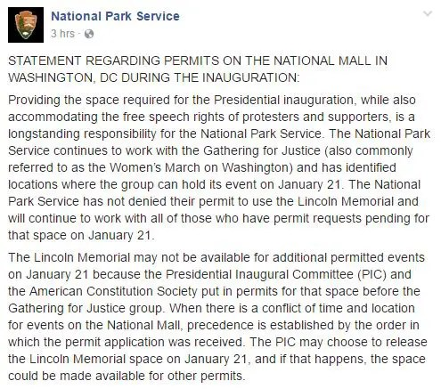 Statement from NPS