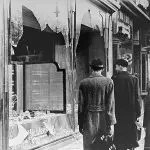 """Shattered storefront of a Jewish-owned shop destroyed during Kristallnacht (the """"Night of Broken Glass""""). Berlin, Germany, November 10, 1938."""