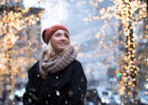 woman in cold weather in nyc