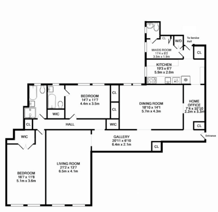 A Prospect Heights' classic six floor plan. Image: Brownstoner