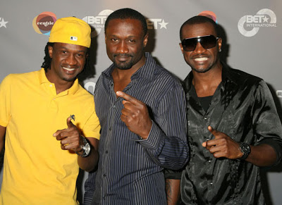 """LOS ANGELES, CA- JUNE 25: P Square and their manager Jude Okoye (C) attend """"La Fete Noire"""", an evening to celebrate the 2010 BET Awards presented by BET and Centric at the SLS Hotel, June 25, 2010 in Los Angeles, California. (Photo by Amy Tierney/PictureGroup)."""