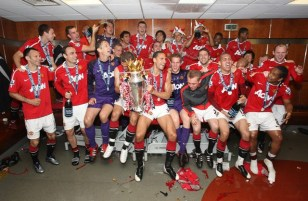 Man U . Celebration in dressing room