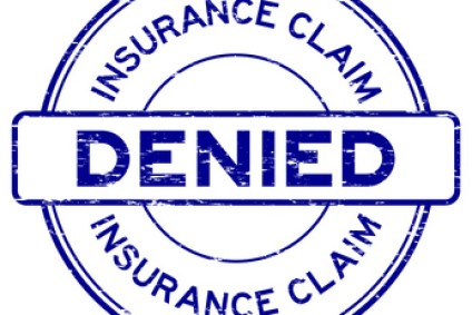Grunge blue insurance claim denied round rubber seal stamp